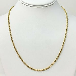 Jewelry - 14k Gold 10.2g Diamond Cut Rope Chain Necklace 20""